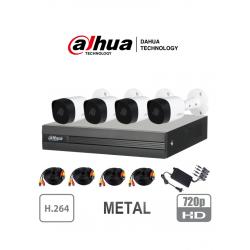 XVR1A044B2A11 - KIT HD 720p / DVR 4 Canales 1080p LITE / 4 Cámaras Bala Metálicas 720p / 4 Cables 18 Mts / 1 Fuente de Poder