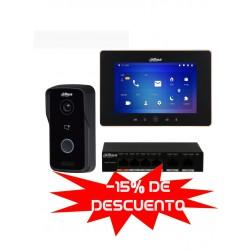 "VTO2111DWPPAK - Kit Videoportero IP : Monitor 7"" VTH5521D-S2 WiFi + Frente de Calle VTO2111DWP  + Switch Poe 4 Puertos"