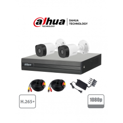 XVR1B04KIT - KIT HD 1080p / DVR 4 Canales H.265+ 1080p LITE / 2 Cámaras Bala B1A21 1080p / 2 Cables 18 Mts / 1 Fuente de Poder