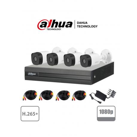 XVR1B04KIT2 - KIT HD 1080p / DVR 4 Canales H.265+ 1080p LITE / 4 Cámaras Bala B1A21 1080p / 4 Cables 18 Mts / 1 Fuente de Poder