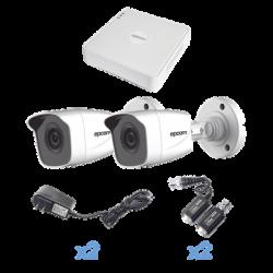 KESTXLT2BW - KIT TurboHD 720p / DVR 4 Canales / 2 Cámaras Bala /  2 Fuentes de Poder / 2 Pares de Transceptores