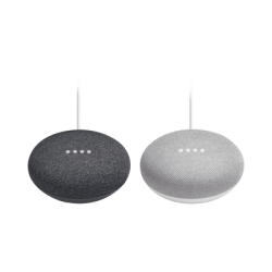 GOOGLEHM - Kit Google Home Mini Asistente de Voz / WiFi / Bluetooth / Bocina / 1 Negro + 1 Gris