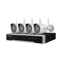NK44W0H1T(WD)(D) - Kit IP Inalámbrico WiFi 4 Megapixel / NVR 4 Canales / 4 Cámaras Bala / 1 HDD  de 1 TB / Modo Repetidor