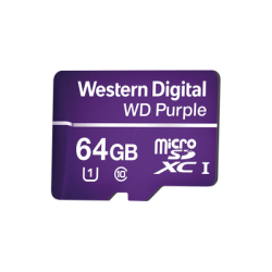 WDD064G1P0A - Memoria microSD 64GB WD PURPLE / Especializada Para Videovigilancia / 3 Veces Mayor Duración