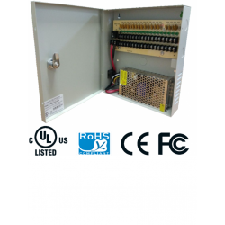PSU1210D18 - Fuente de Poder Regulada 12 VCD / 10 Amperes / 18 Salidas / 0.55 Amp. por Canal
